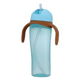Bình uống nước tay cầm có ống hút 330ml - Màu xanh dương