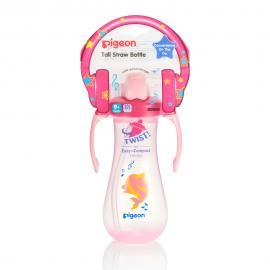 Bình uống nước tay cầm có ống hút Pigeon - Màu hồng