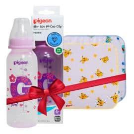 Bình sữa PP cao cấp bé gái 240ml tặng Khăn sữa Pokemon