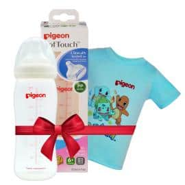 Bình sữa PP Plus 330ml tặng Áo thun Pokemon Xanh size lớn