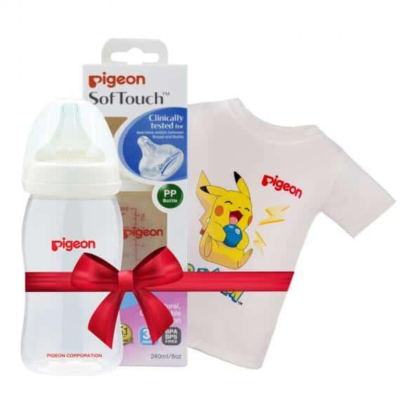 [3]Bình sữa PP Plus 240ml tặng Áo thun Pokemon Trắng size nhỏ