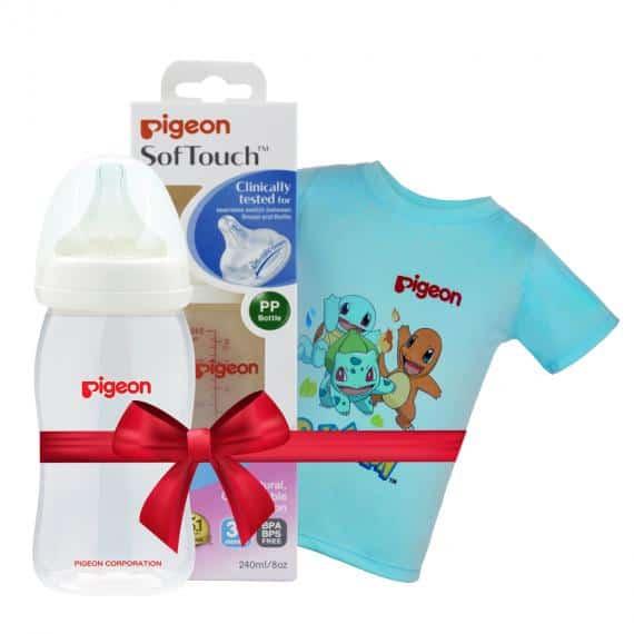 [2]Bình sữa PP Plus 240ml tặng Áo thun Pokemon Xanh size nhỏ - HSD 11.2023