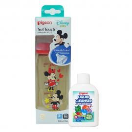 Bình sữa PPSU PLUS 240ML Disney & Dung dịch súc rửa bình sữa 20ml