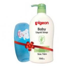 Sữa tắm em bé 700ml - Nắp màu & Bóp viết Pigeon Voi - HSD: 10/2019