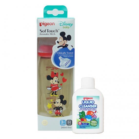 Bình sữa PPSU Plus 240ML Disney (HSD 08.2023)& Dung dịch súc rửa bình sữa 20ml