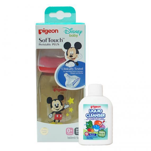 Bình sữa PPSU Plus 160ML Disney (HSD 06.2022) & Dung dịch súc rửa bình sữa 20ml (HSD 09.2022)