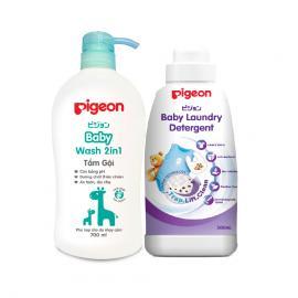 Tắm gội Jojoba dịu nhẹ Pigeon 700ml tặng chai nước giặt Pigeon 500ml
